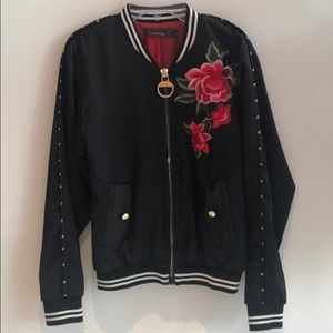 Satin bomber jacket with floral embroidery